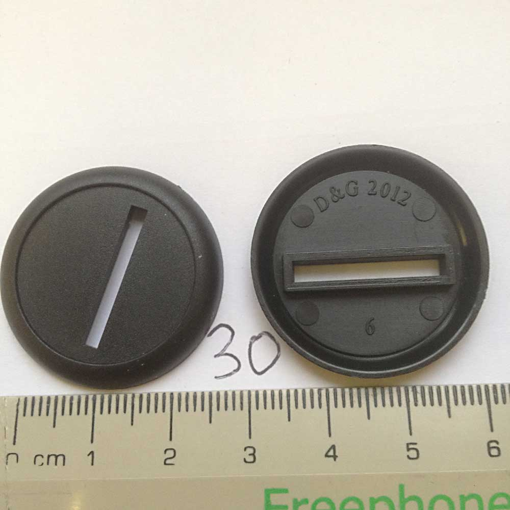 30mm Round Base Lip - slotted x 100