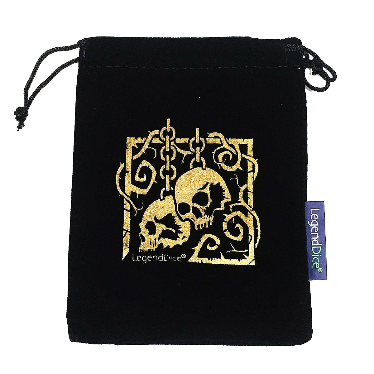 Skull Dice Bag, Black with Gold -  Dice