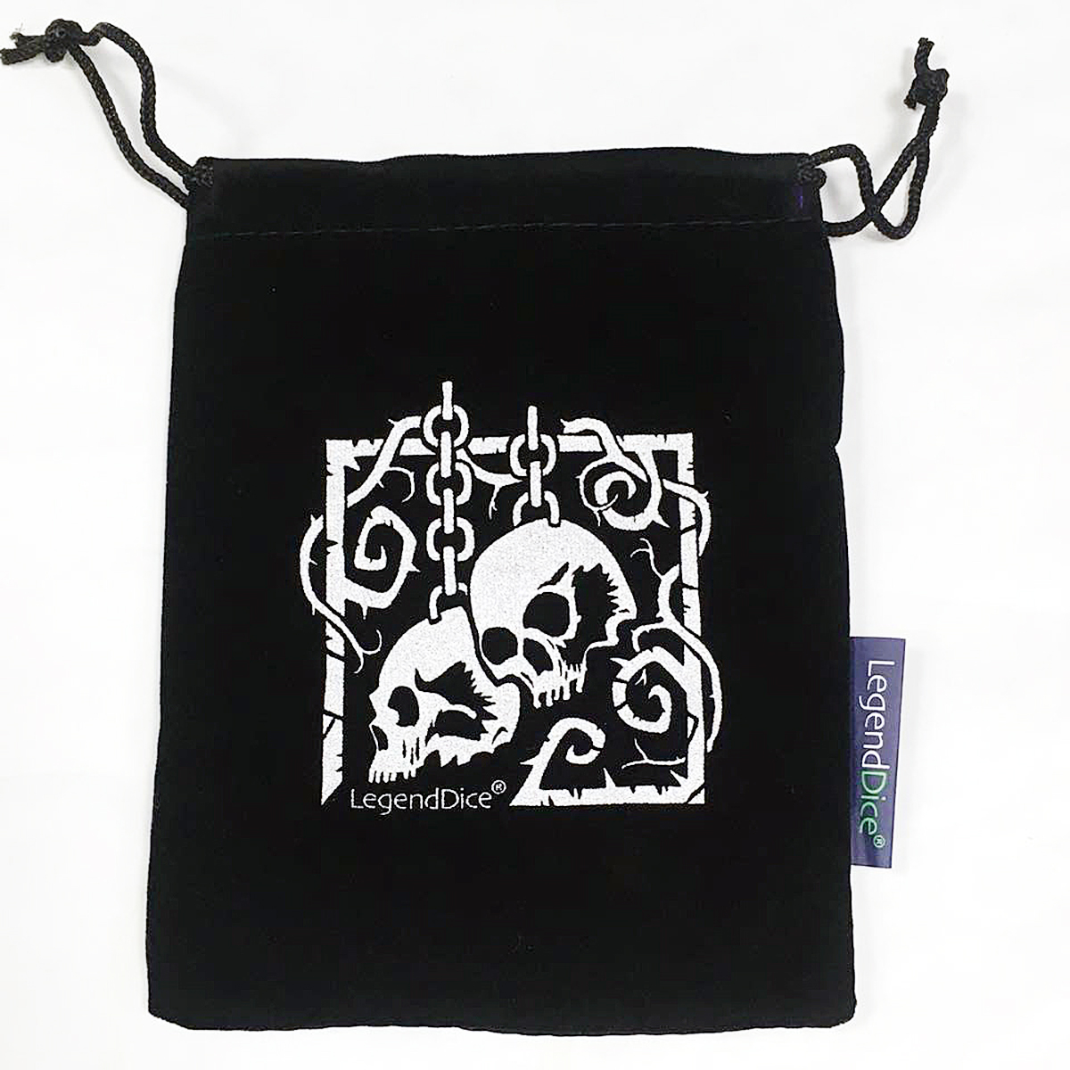 Skull Dice Bag, Black with Silver -  Dice
